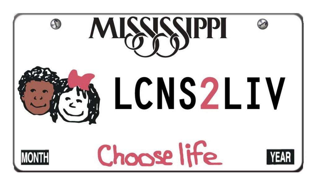 choose life tag with border lcns2liv wording